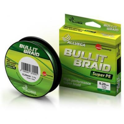 "Леска плет. ""ALLVEGA"" Bullit Braid dark green 0.08 135м"