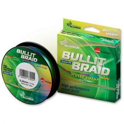 Леска плет. Allvega Bullit Braid multi color 0.40 150м
