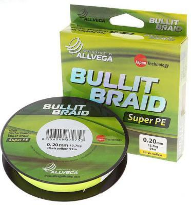 Леска плет. Allvega Bullit Braid hi-vis yellow 0.16 135м