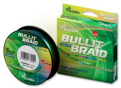 Леска плет. Allvega Bullit Braid multi color 0.24 150м